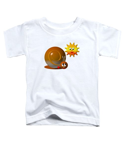 Cute Snail With Smiling Sun Toddler T-Shirt