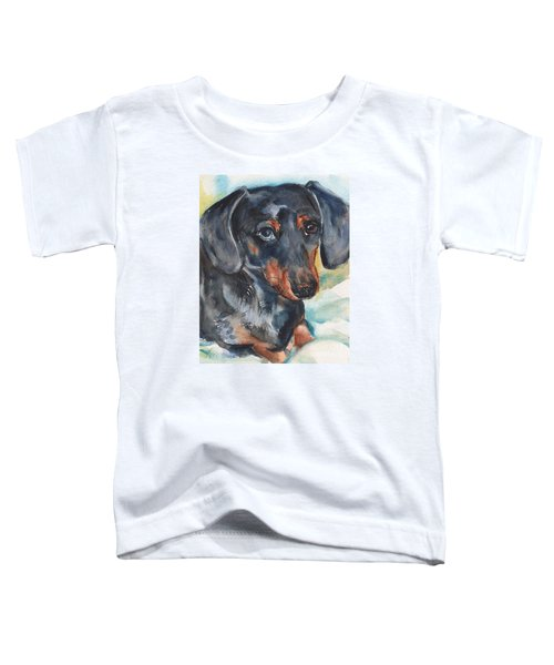 Dachshund Portrait In Watercolor Toddler T-Shirt by Maria's Watercolor