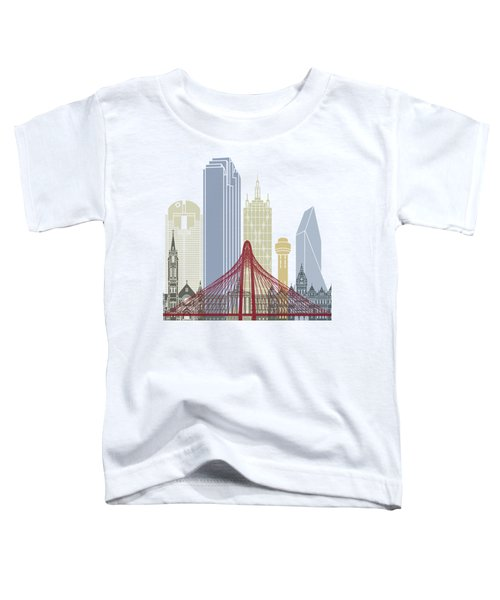 Dallas Skyline Poster Toddler T-Shirt by Pablo Romero