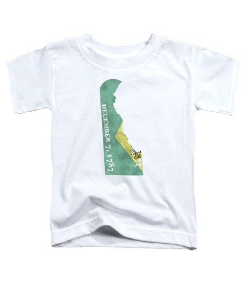 Delaware Map Art With Flag Design Toddler T-Shirt