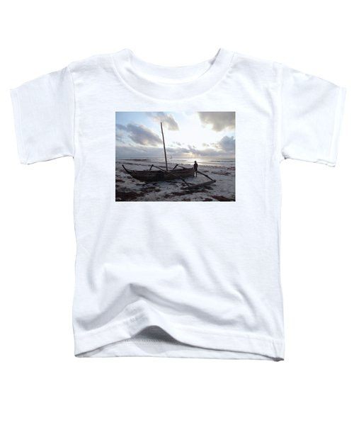 Dhow Wooden Boats At Sunrise With Fisherman Toddler T-Shirt