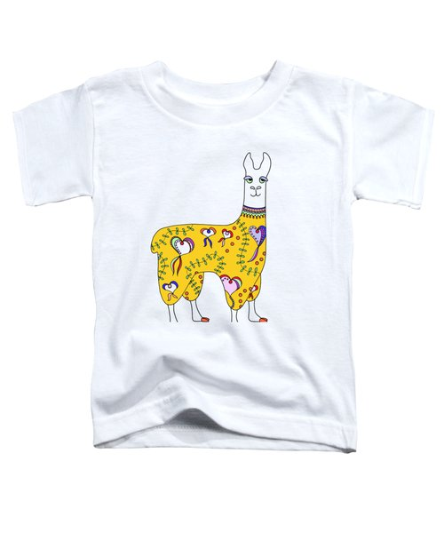 Difficult Llama Yellow Toddler T-Shirt by Sarah Rosedahl