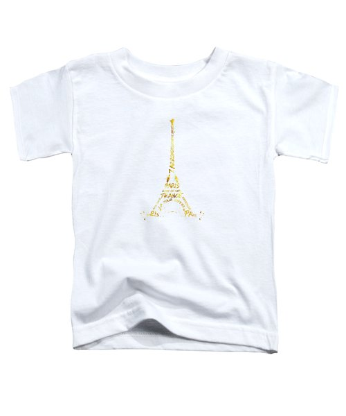 Digital-art Eiffel Tower - White And Golden Toddler T-Shirt by Melanie Viola