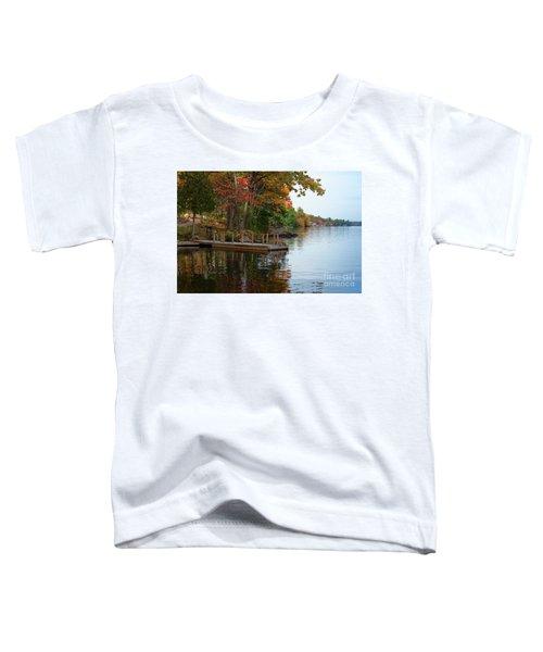 Dock On Lake In Fall Toddler T-Shirt