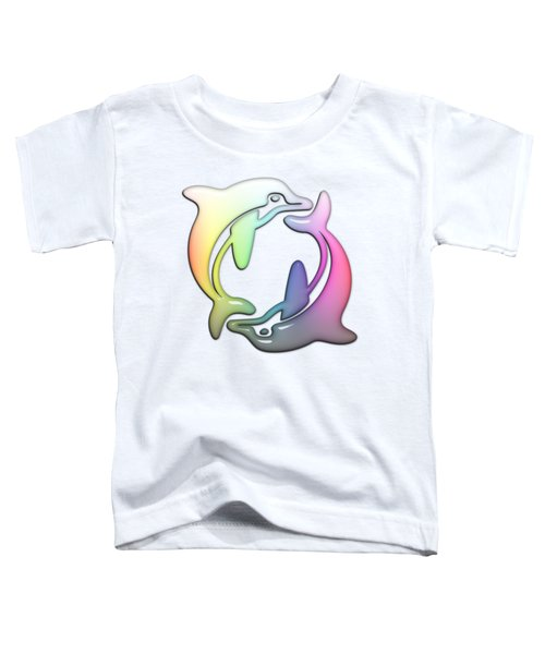 Dolphin Dance Soft Rainbow Drops Toddler T-Shirt by Di Designs