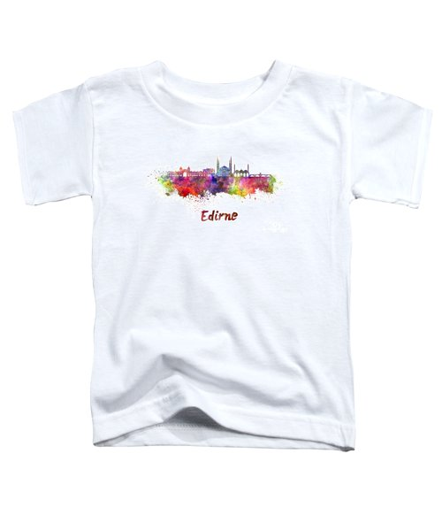 Edirne Skyline In Watercolor Toddler T-Shirt by Pablo Romero