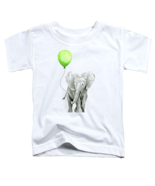 Elephant Watercolor Green Balloon Kids Room Art  Toddler T-Shirt