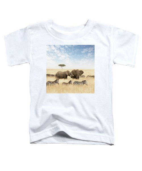 Elephants And Zebras In The Grasslands Of The Masai Mara Toddler T-Shirt