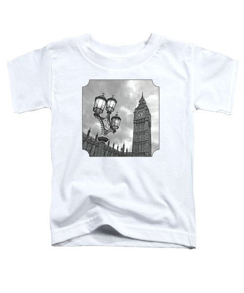 Evening Light At Big Ben In Black And White Toddler T-Shirt by Gill Billington