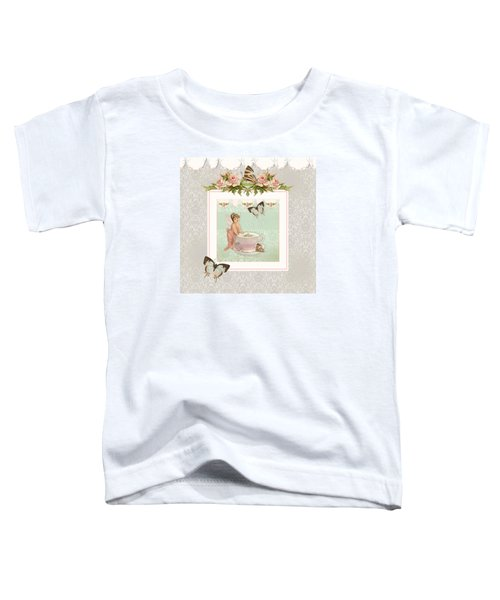 Fairy Teacups - Flutterbye Butterflies And English Rose Damask Toddler T-Shirt by Audrey Jeanne Roberts