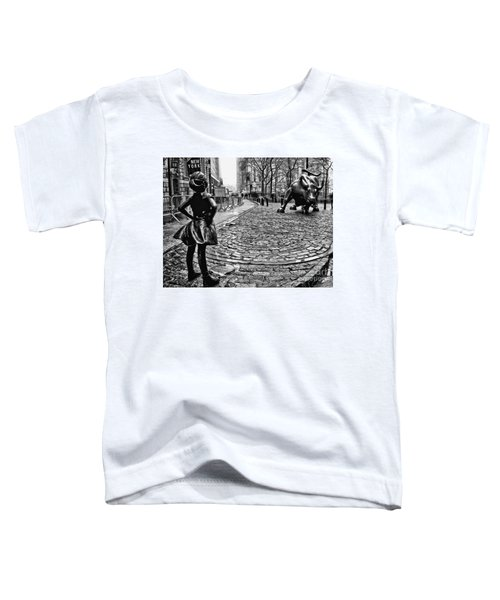 Fearless Girl And Wall Street Bull Statues 3 Bw Toddler T-Shirt