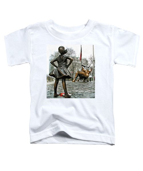 Fearless Girl And Wall Street Bull Statues 5 Toddler T-Shirt
