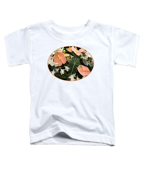 Flamingo Flowers And Orchids Toddler T-Shirt by Gill Billington