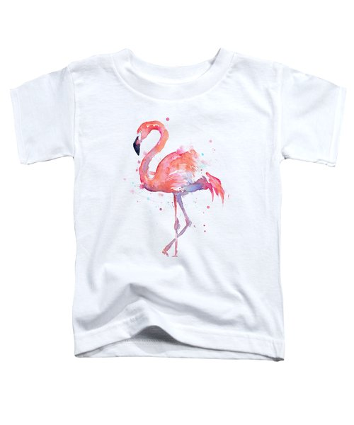 Flamingo Love Watercolor Toddler T-Shirt by Olga Shvartsur