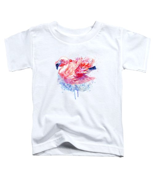 Flamingo On The Water Toddler T-Shirt by Marian Voicu