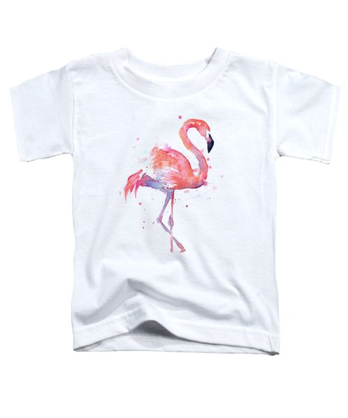 Flamingo Watercolor Facing Right Toddler T-Shirt by Olga Shvartsur
