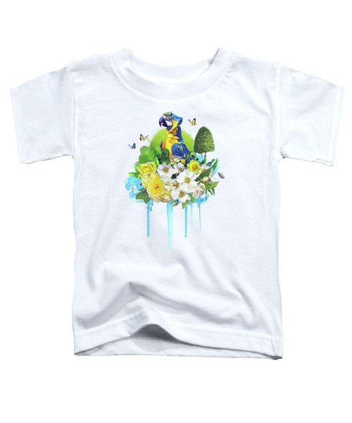Floral Parrot Toddler T-Shirt