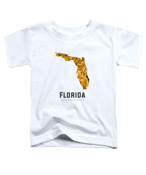Florida Map Art Abstract In Yellow Gold Toddler T-Shirt