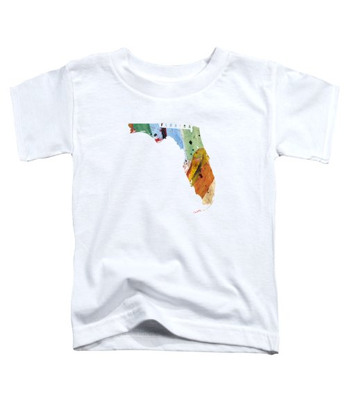 Florida Map Art - Painted Map Of Florida Toddler T-Shirt