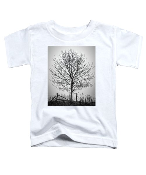 Foggy Lone Tree Hill Fine Art Toddler T-Shirt