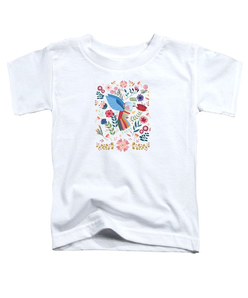 Folk Art Inspired Hummingbird In A Burst Of Springtime Blossoms Toddler T-Shirt