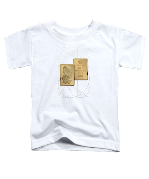 Fortuna Suisse Minted Gold Bar - Obverse And Reverse Over White Leather Toddler T-Shirt