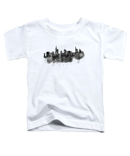 Frankfurt Black And White Skyline Toddler T-Shirt by Marian Voicu