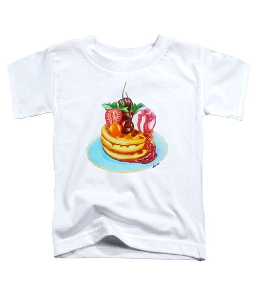 Fruity Waffles Served With Ice Cream And Strawberry Sauce Toddler T-Shirt by Sonja Taljaard