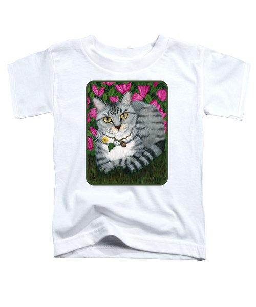 Garden Cat - Silver Tabby Cat Azaleas Toddler T-Shirt