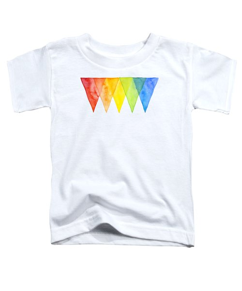 Geometric Watercolor Pattern Rainbow Triangles Toddler T-Shirt