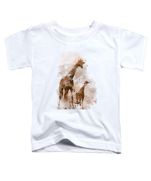 Giraffe And Baby Toddler T-Shirt by Marlene Watson