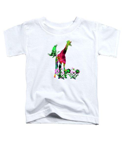 Giraffe And Flowers3 Toddler T-Shirt