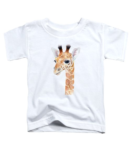 Giraffe Watercolor Toddler T-Shirt by Olga Shvartsur