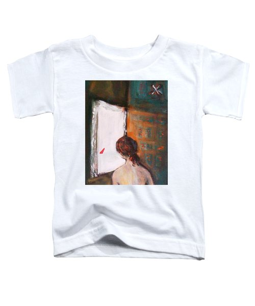 Toddler T-Shirt featuring the painting Girl At The Window by Winsome Gunning