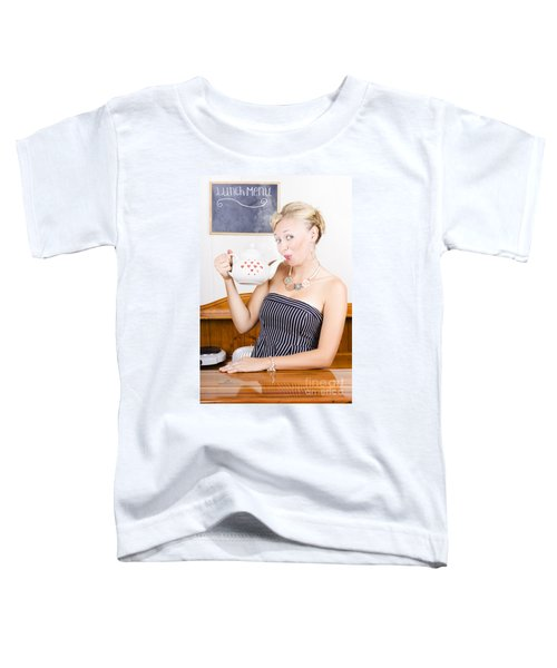 Girl In Cafe Serving Hot Coffee With Heart Teapot Toddler T-Shirt