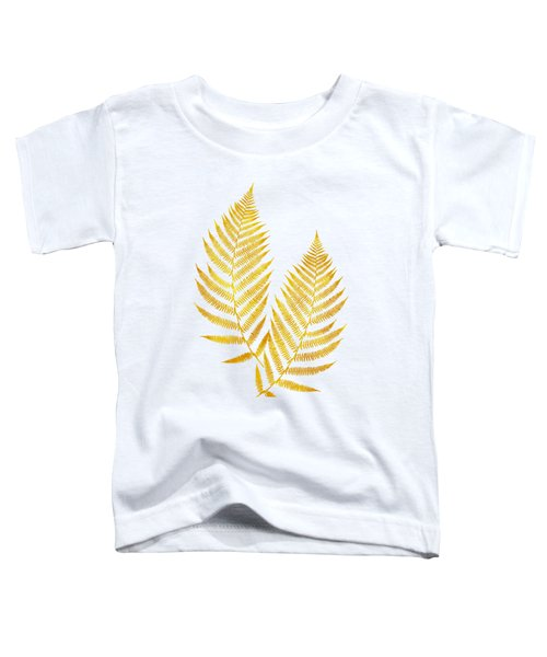 Toddler T-Shirt featuring the mixed media Gold Fern Leaf Art by Christina Rollo