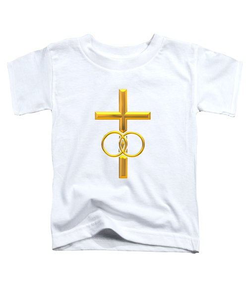 Golden 3d Look Cross With Wedding Rings Toddler T-Shirt