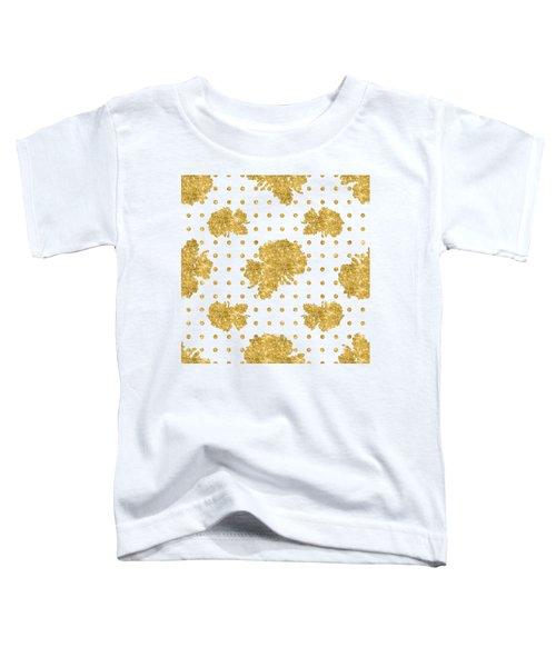 Golden Gold Blush Pink Floral Rose Cluster W Dot Bedding Home Decor Toddler T-Shirt