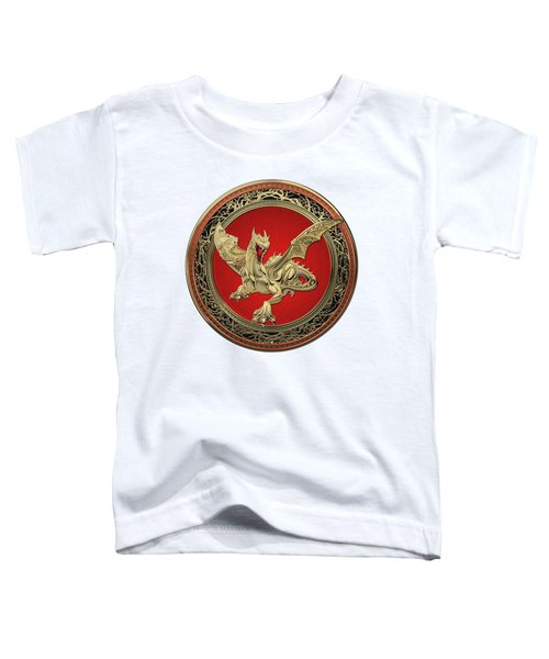 Golden Guardian Dragon Over White Leather Toddler T-Shirt by Serge Averbukh