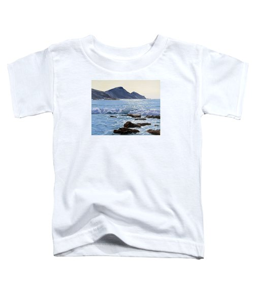 Toddler T-Shirt featuring the painting Golden Light At Crackington Haven by Lawrence Dyer