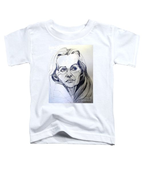 Graphite Portrait Sketch Of A Woman With Glasses Toddler T-Shirt