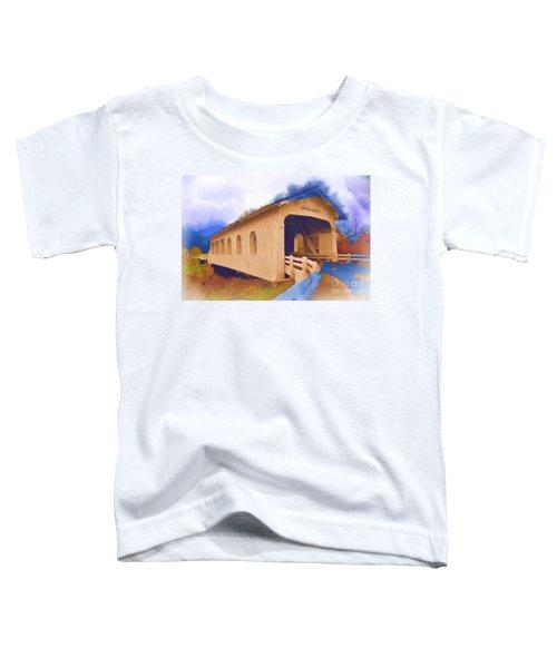 Grave Creek Covered Bridge In Watercolor Toddler T-Shirt