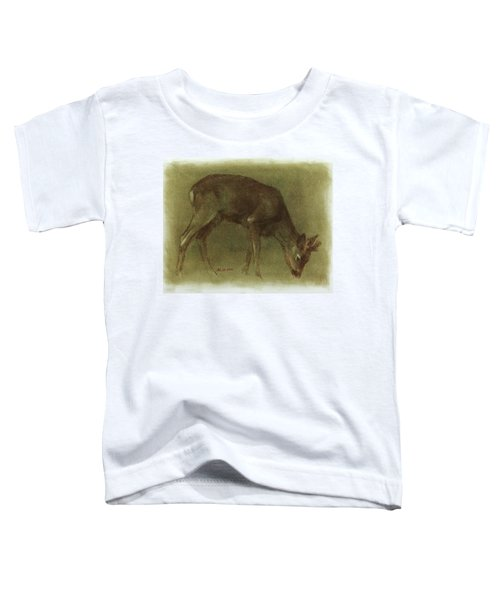 Grazing Roe Deer Oil Painting Toddler T-Shirt