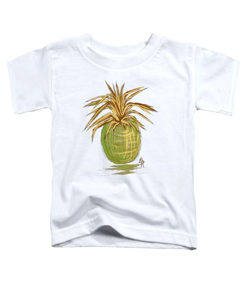 Green Gold Pineapple Painting Illustration Aroon Melane 2015 Collection By Madart Toddler T-Shirt by Megan Duncanson