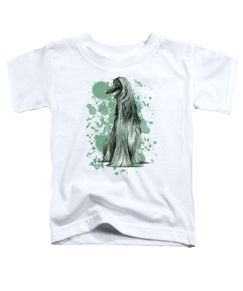 Green Paint Splatter Afghan Hound Toddler T-Shirt