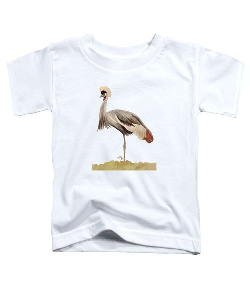 Grey Crowned Crane Toddler T-Shirt by Angeles M Pomata