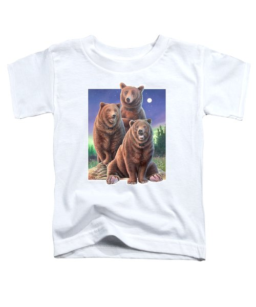 Grizzly Bears In Starry Night Toddler T-Shirt