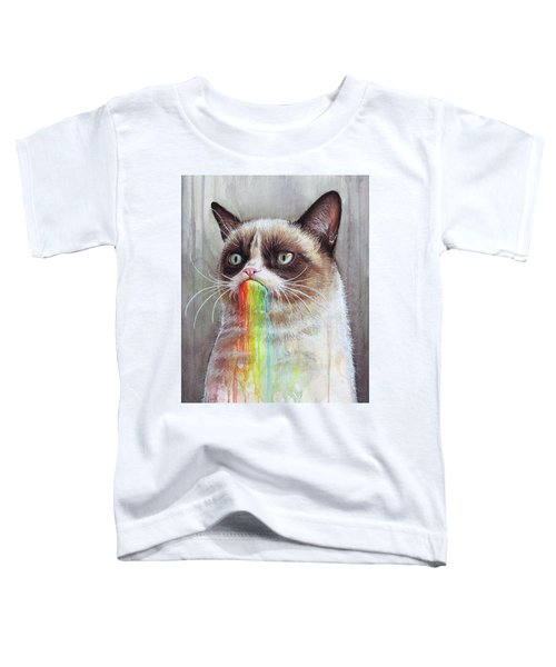 Grumpy Cat Tastes The Rainbow Toddler T-Shirt