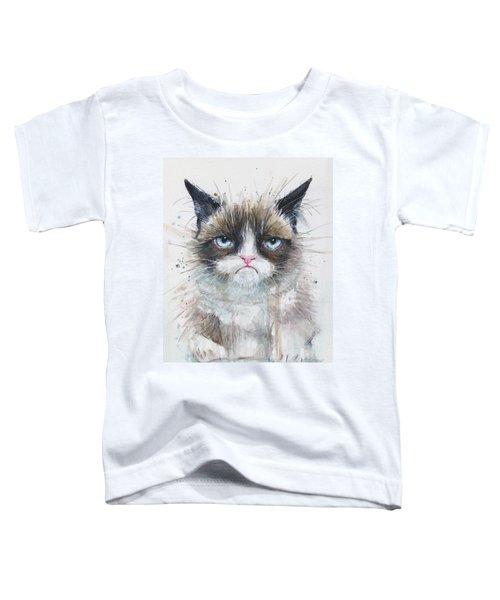 Grumpy Cat Watercolor Painting  Toddler T-Shirt by Olga Shvartsur