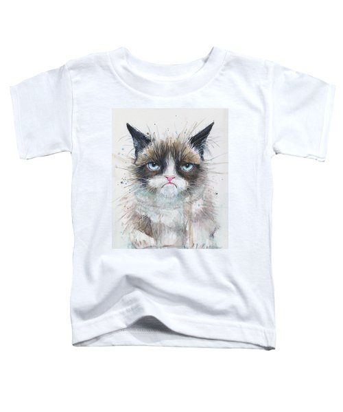 Grumpy Cat Watercolor Painting  Toddler T-Shirt